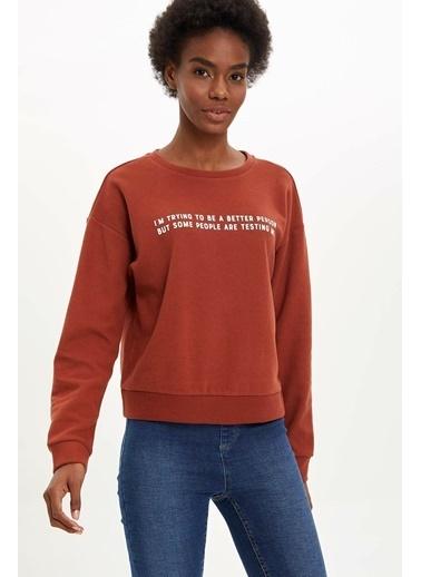 DeFacto Yazı Baskılı Sweatshirt Oranj